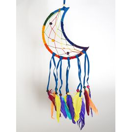 Bunter Mond Traumfänger Dream Catcher, regenbogenfarben,...